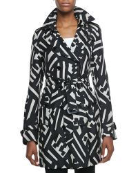 Burberry London Printed Silk Trench Coat - Lyst