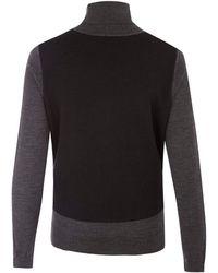 Paul Smith Black Label - Black Layer Panel Merino Wool Roll Neck Jumper - Lyst