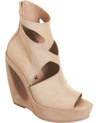 Ann Demeulemeester - Cut Out Detailed Wedge Ankle Boot - Lyst