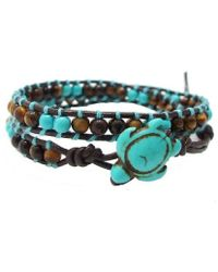 Aeravida - Timeless Ocean Sea Turtle Tiger's Eye And Turquoise Double Wrap Bracelet2 - Lyst