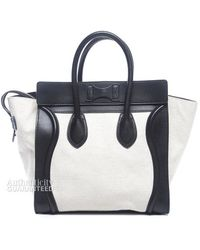 Celine Preowned White Canvas Black Leather Mini Luggage Tote Bag - Lyst