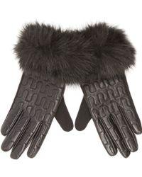 River Island - Black Leather Faux Fur Trim Gloves - Lyst