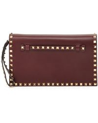 Valentino Rockstud Leather Flaptop Clutch Bag - Lyst