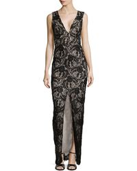 Alice + Olivia Caragen Lace Gown W/ Center Slit - Lyst