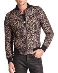 The Kooples Quilted Leopard-Print Silk Bomber Jacket - Lyst