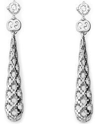 Gucci Diamantissima 18Ct White-Gold And Diamond Drop Earrings - For Women yellow - Lyst