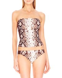 Michael by Michael Kors Snakeprint Bandeau Top - Lyst