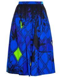 Preen Milton Palm-Print Pleated Skirt - Lyst