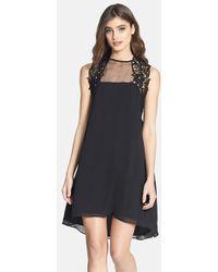 Dress the Population 'Ella' Embellished Yoke High/Low Chiffon Dress - Lyst