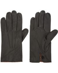 Paul Smith - Black Leather Multistripe Trim Gloves - Lyst