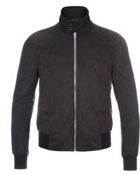 Paul Smith Navy Alcantara Harrington Jacket With Contrast Sleeves - Lyst