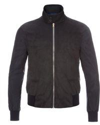 Paul Smith Navy Alcantara Harrington Jacket With Contrast Sleeves - Lyst