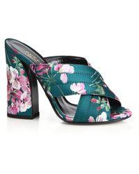 Gucci | Webby Floral-print Crisscross Mule Sandals | Lyst