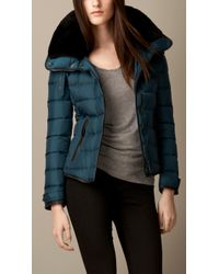Burberry Down-Filled Puffer Jacket With Shearling Topcollar - Lyst