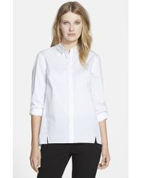 Elie Tahari Women'S 'Bella' Stretch Poplin Blouse - Lyst