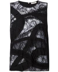Nina Ricci Ruffles Detail Lace Top - Lyst