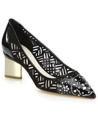 Nicholas Kirkwood Metallic-Heeled Cutout Patent Leather Pumps black - Lyst
