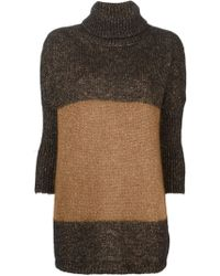 Costume National Loose Fit Contrasting Band Turtle Neck Sweater - Lyst
