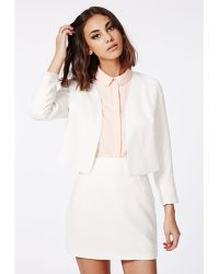 Missguided Salli Textured Cropped Curve Blazer White - Lyst