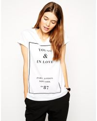 Asos T-Shirt With V Neck And Young In Love Print - Lyst