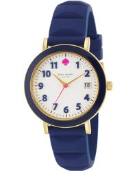 Kate Spade Metro Goldtone Stainless Steel, Enamel & Silicone Strap Watch/Navy blue - Lyst