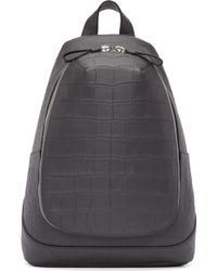 Alexander McQueen | Grey Croc-embossed Leather Backpack | Lyst