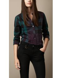 Burberry Check Cotton Pleat Detail Shirt - Lyst