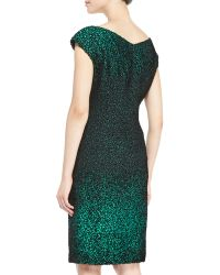 Escada Capsleeve Metallic Sheath Dress - Lyst