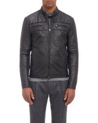 Michael Kors Knit-Insert Leather Café Racer Jacket - Lyst