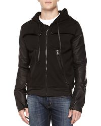 Hudson Terry Zip Hoodie with Leather Sleeves - Lyst