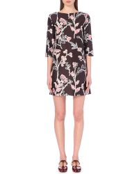 Marni Floral-Print Cotton And Silk-Blend Dress - For Women - Lyst