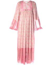 Saint Laurent Tie-Neck Floral-Print Dress - Lyst