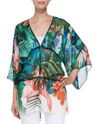 Roberto Cavalli Mustique-print Tie-waist Kimono Top - Lyst