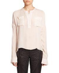 Faith Connexion Crinkled Gauze Shirt beige - Lyst