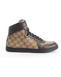 Gucci Brown Gg Canvas High Top Sneakers - Lyst