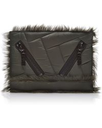 Kenzo Fur-trimmed Quilted Clutch - Lyst