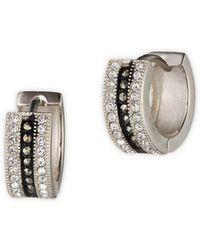 Judith Jack - Rings And Things Swarovski Marcasite And Crystal Sterling Silver Huggie Hoop Earrings - Lyst