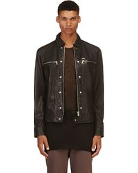 Diesel Black Washed Leather L_bunmi Jacket - Lyst