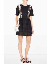 MSGM Short Sleeve Poplin Perforated Dress - Lyst
