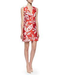 Diane von Furstenberg Floral-Print Ruffled Sateen Dress - Lyst