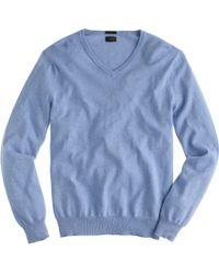 J.Crew Slim Cotton-Cashmere V-Neck Sweater blue - Lyst