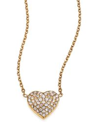 Michael Kors Brilliance Motif PavÉ Puffy Heart Necklace gold - Lyst