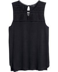 H&M Black Lace Top - Lyst