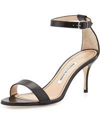 Manolo Blahnik Chaos Leather Low-heel Sandal - Lyst