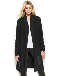Michael Kors Michael Long Faux-leather-pocket Cardigan - Lyst