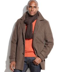 Calvin Klein Woolblend Twill Car Coat with Scarf - Lyst