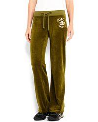 Juicy Couture Velour Rhinestone Logo Pants - Lyst