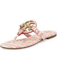 Tory Burch Miller Striped Logo Thong Sandal - Lyst
