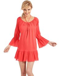 Ralph Lauren Blue Label Ruffled Swim Cover Up Tunic - Lyst