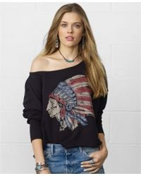 Denim & Supply Ralph Lauren Headdressgraphic Laceback Slouchy Sweatshirt - Lyst